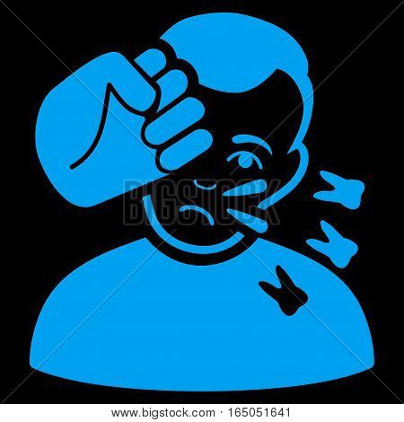 Head Strike vector icon. Flat blue symbol. Pictogram is isolated on a black background. Designed for web and software interfaces.