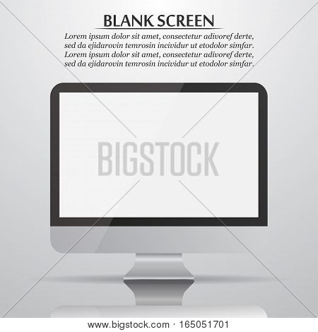 Blank screen. Computer monitor with reflection and shadow. Vector illustration