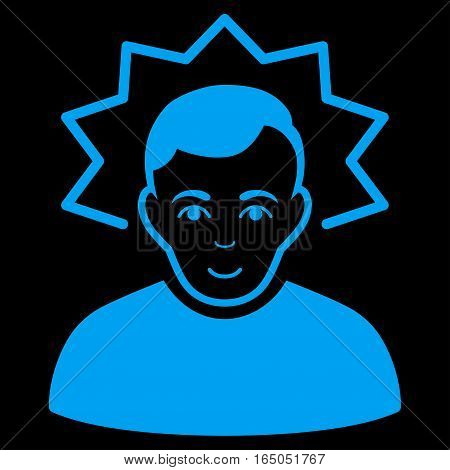 Inventor vector icon. Flat blue symbol. Pictogram is isolated on a black background. Designed for web and software interfaces.