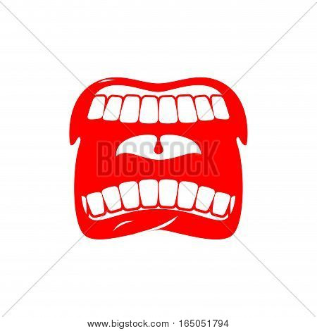 Open Mouth Isolated. Shout And Scream. Tongue And Teeth