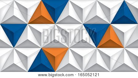 Vector triangles retro background, blue and orange color inserts, mesh gradient, geometric wallpaper