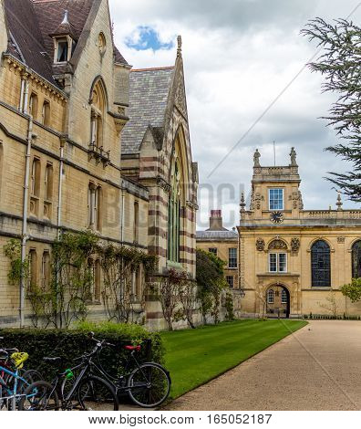 Oxford UK - 30 April 2016: Front quadrangle of Trinity College part of the University of Oxford on a cloudy afternoon