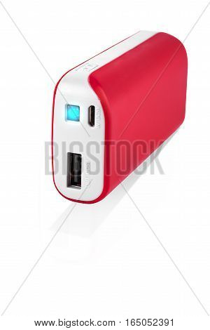 Red Power bank at white background  isolated