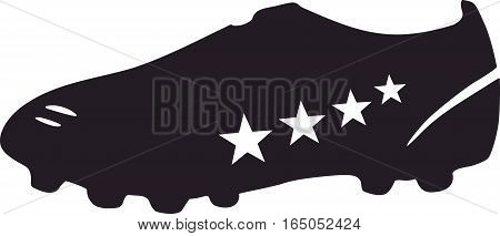 Black Soccer shoe with four white stars