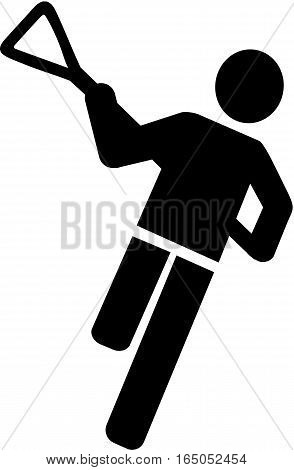 Lacrosse Player Icon in pictogram style black