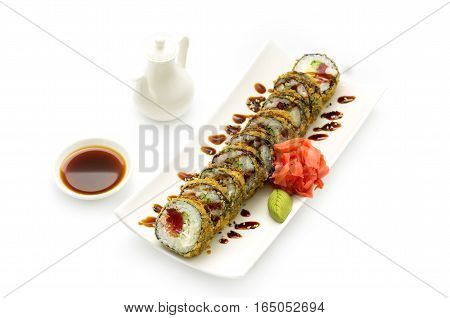 Tempura Maki Sushi Deep Fried Roll made of Tuna and Salad Leaf inside