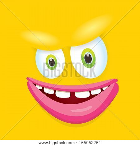 vector orange funny monster face. cartoon monster smiling face for kids background or greeting cards. kids hoodie or t-shirt vector graphic design creative template