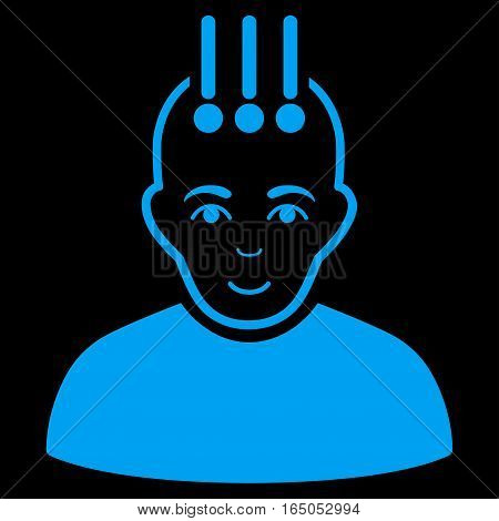 Neural Interface vector icon. Flat blue symbol. Pictogram is isolated on a black background. Designed for web and software interfaces.