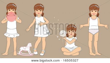 vector girl illustration in different positions