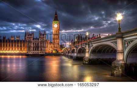 Big Ben and the houses of parliament view at blue hour. London, UK