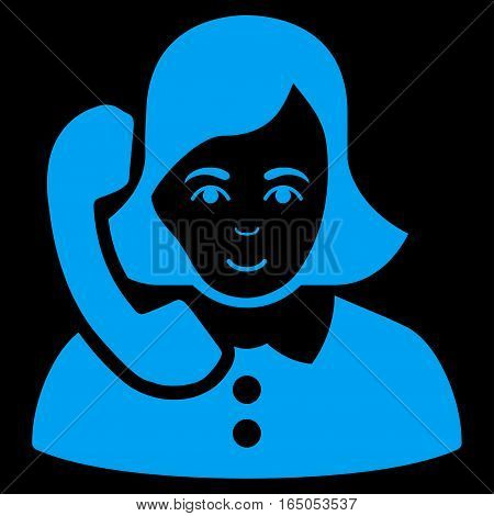 Receptionist vector icon. Flat blue symbol. Pictogram is isolated on a black background. Designed for web and software interfaces.