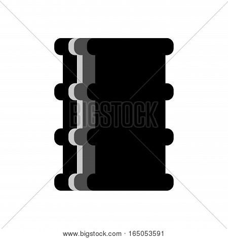 Barrel Oil Flat Isolated. Black Fuel Container On White Background. Industry Object