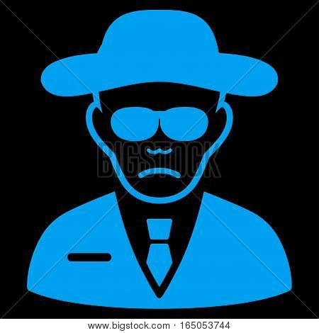 Security Agent vector icon. Flat blue symbol. Pictogram is isolated on a black background. Designed for web and software interfaces.