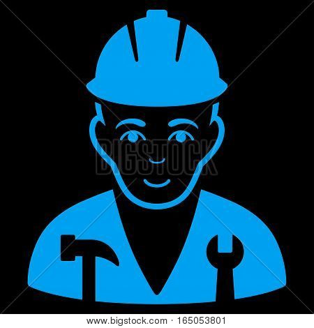 Serviceman vector icon. Flat blue symbol. Pictogram is isolated on a black background. Designed for web and software interfaces.