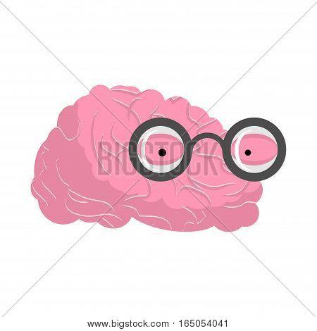 Brain glasses. Genius of human brains. Egghead mind poster