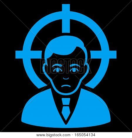 Victim Businessman vector icon. Flat blue symbol. Pictogram is isolated on a black background. Designed for web and software interfaces.