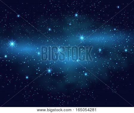 Cosmic space dark sky background with blue bright shining stars nebula at night vector illustration.