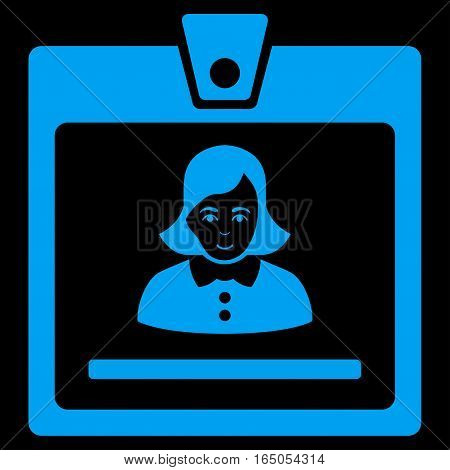 Woman Badge vector icon. Flat blue symbol. Pictogram is isolated on a black background. Designed for web and software interfaces.