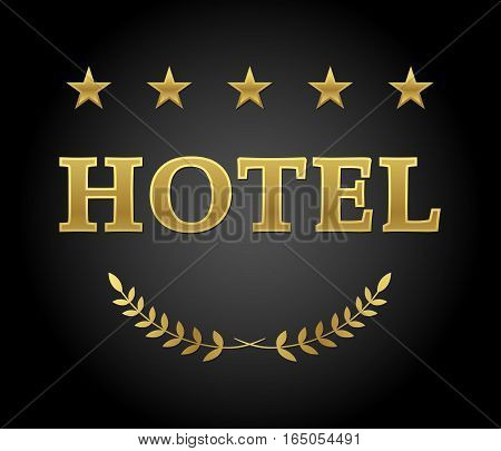 Hotel sign five stars in golden color