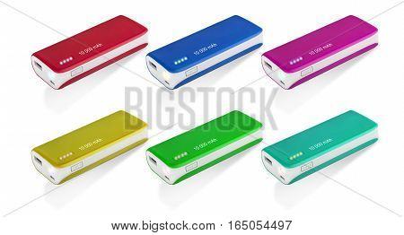 Colorful Power bank at white background  isolated