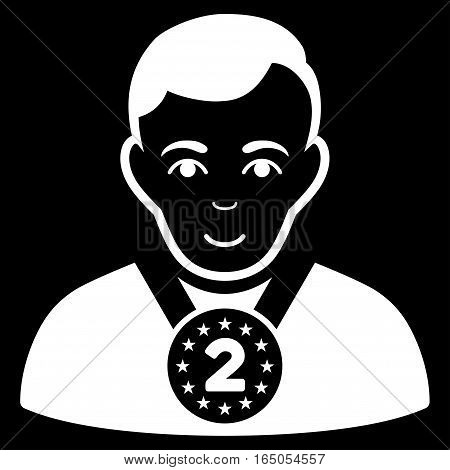2nd Prizer Sportsman vector icon. Flat white symbol. Pictogram is isolated on a black background. Designed for web and software interfaces.
