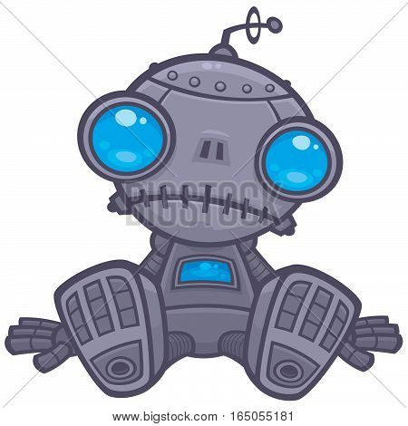 Vector cartoon illustration of a cute but sad little robot with blue eyes sitting on the floor.