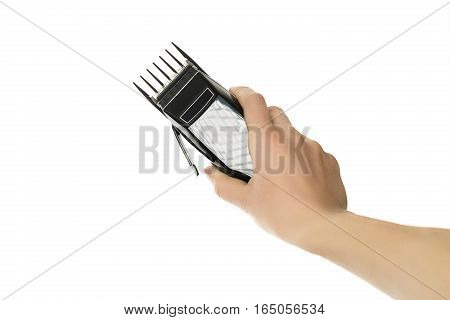 Closeup image of arm holding hairclipper, isolated on white background, an electric hair clipper in hand for hairdressers, The barber clippers instead of scissors