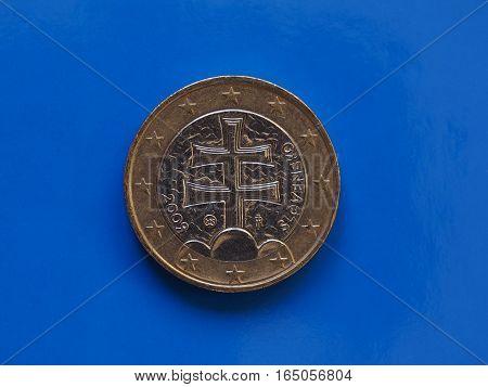 1 Euro Coin, European Union, Slovakia Over Blue