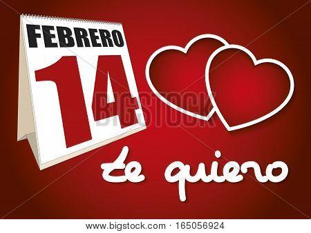 Valentines Day Calendar Sheet 14 Febrero Te Quiero