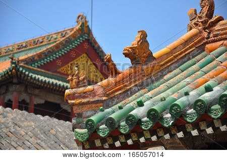 Colored glazed decoration of Chongzheng Hall in the center of Shenyang Imperial Palace (Mukden Palace), Shenyang, Liaoning Province, China. Shenyang Imperial Palace is UNESCO world heritage site.