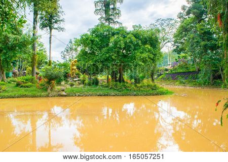 Landscape design of relax tropical garden with river bank in Vietnam