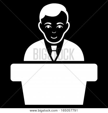 Politician vector icon. Flat white symbol. Pictogram is isolated on a black background. Designed for web and software interfaces.