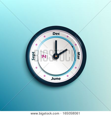 Change of seasons in round clock concept with calendar. Modern vector clock