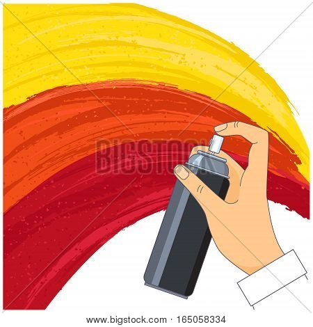 Roughly painted with yellow orange and red paint vertical surface and spray in a man's hand. Vector illustration.