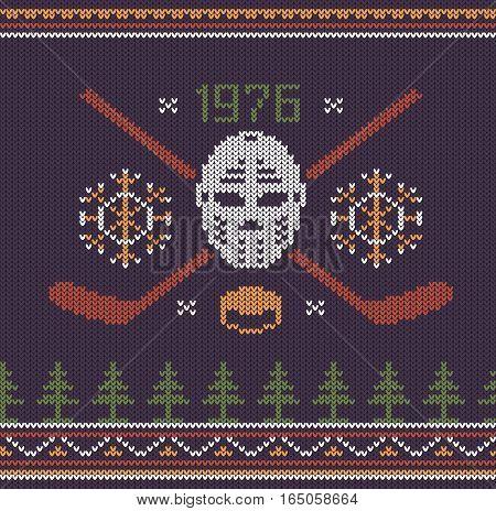 Hockey retro logo knitted texture. Vector illustration.