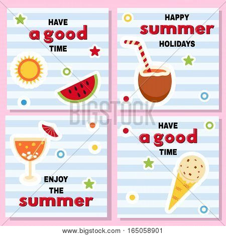 Set of funny backgrounds for summer time with bright icons and good wishes. Watermelon coconut cocktail icecream on striped background and inscriptions.