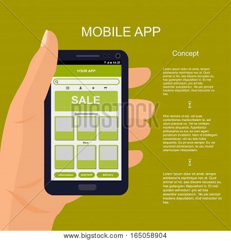 Vector mobile app interface design. Hand holding smartphone. e-commerce mobile website concept.