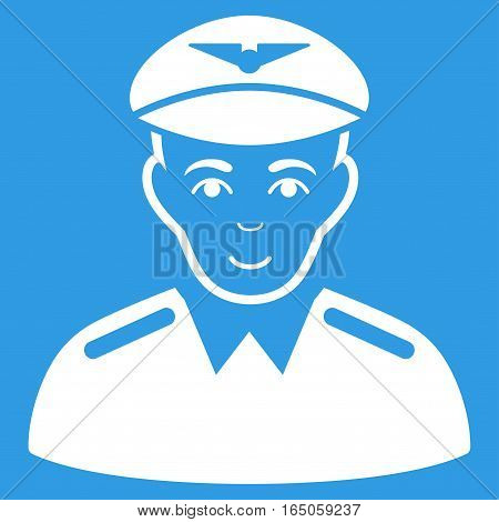 Aviator vector icon. Flat white symbol. Pictogram is isolated on a blue background. Designed for web and software interfaces.