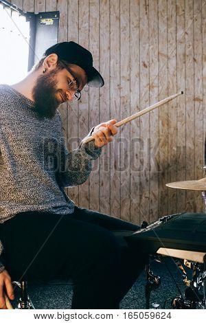 Man With A Beard. The Bearded Drummer