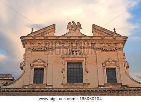 Ancient ornate building against stormy sky in Lecce Italy