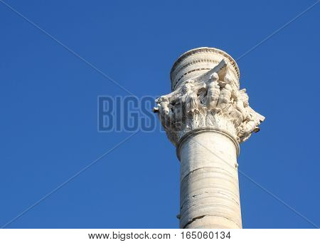 Pillar marking the end of the old roman road Via Appia from Rome in Brindisi Italy Puglia