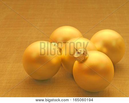 warm metal Christmas balls shallow depth of field