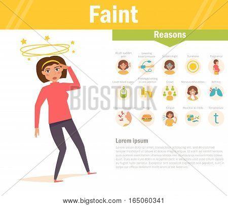 Faint. Reasons. Vector. Cartoon. Isolated Flat Illustration for websites brochures magazines Medicine