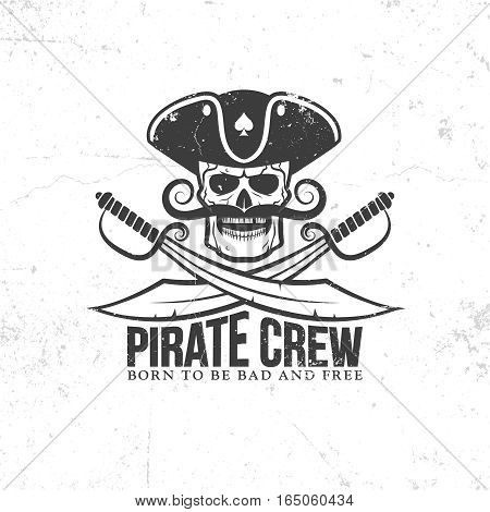 jolly roger tattoo - pirate skull with a mustache with swords on a white background. grunge texture on separate layers and can be easily disabled.