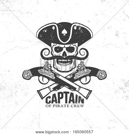 pirate skull with mustache and crossed old pistols - vintage logo tattoo. grunge texture and background on separate layers.