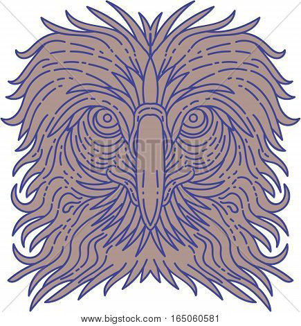 Mono line style illustration of the great Philippine eagle also known as the monkey-eating eagle an eagle of the family Accipitridae endemic to forests in the Philippines head viewed from the front set on isolated white background.