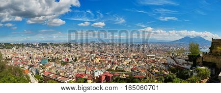 Aerial scenic panoramic view of Naples with Vesuvius volcano. Campania Southern Italy