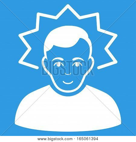 Inventor vector icon. Flat white symbol. Pictogram is isolated on a blue background. Designed for web and software interfaces.