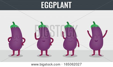 Eggplant. Funny cartoon vegetables. Organic food Vector illustration