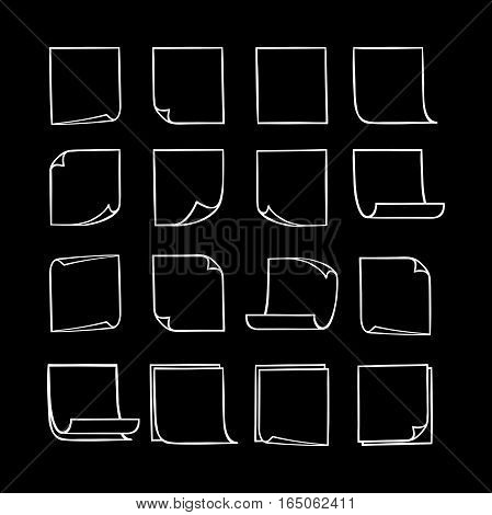 Vector black and white stick notes, collection of hand-drawn sheets of note paper with place for your text and message, isolated monochrome sticky note with curled corners, EPS 8